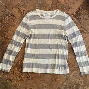 Express Men's White/Grey Striped Long Sleeve